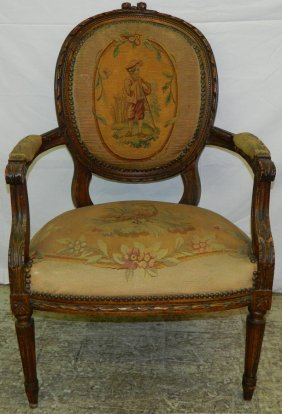 "Louis Xv Aubusson Fauteuil. 36"" Tall."