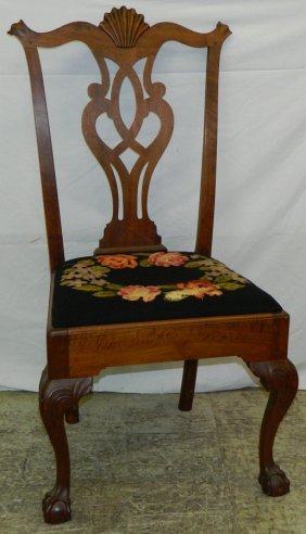 18th C Chippendale Shell Carved Walnut Chair.