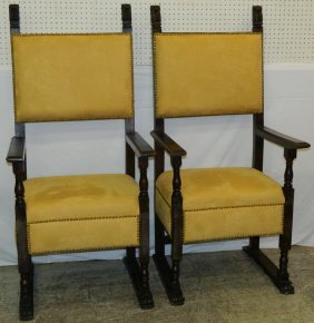 Pair Of 19th C Leather Covered Walnut Italian Chairs.