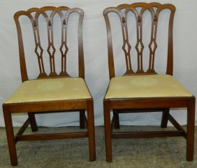 Pr 18th C. Mahog Straight Leg Chipp Side Chairs.