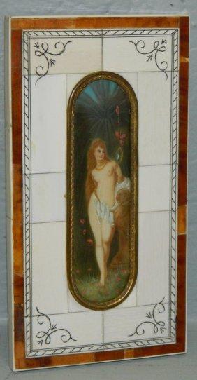 Hp Orientalist Watercolor Nude In Scrimshaw Frame.