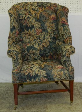 19th C. Chippendale High Back Wing Chair