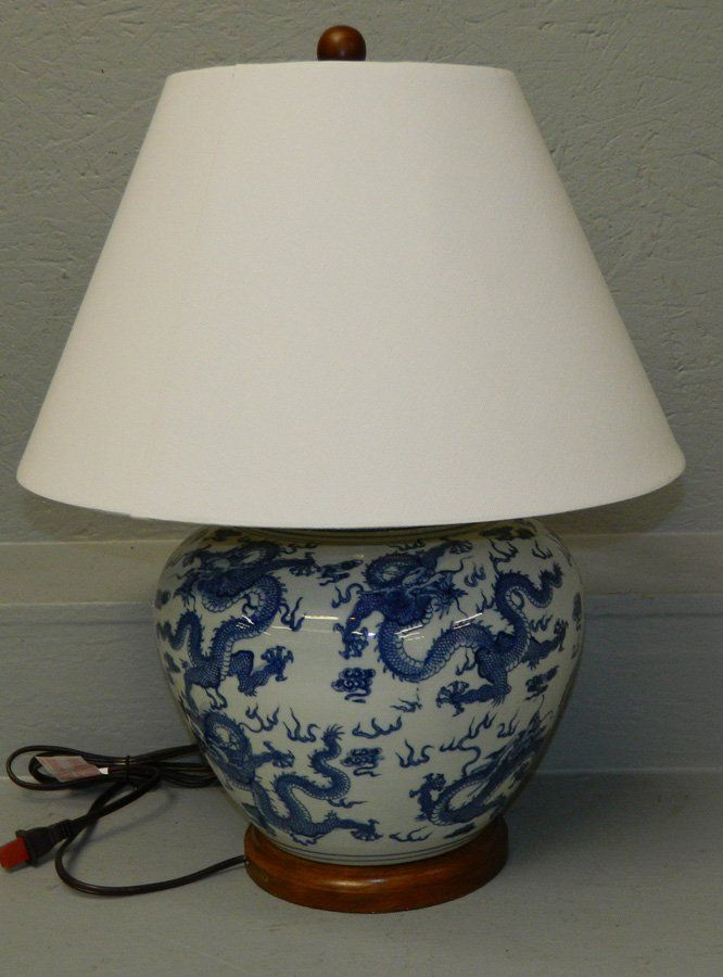 Oriental Hand Painted Dragon Lamp By, Ralph Lauren Blue And White Dragon Lamp