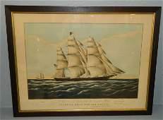 Currier  Ives lithoprint Clipper ship w US Flag