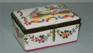 19th C hand painted porcelain box