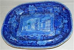 """Enoch Wood dark blue """"London View"""" platter"""