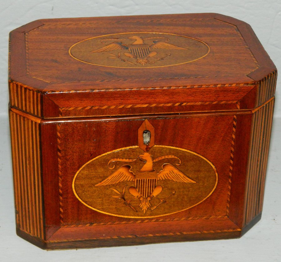 19th C. Full eagle spread inlay fitted tea caddy