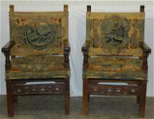 Pr 18th C walnut  Italian needlepoint arm chairs