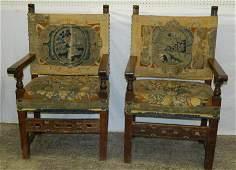 Pair of Italian walnut needlepoint arm chairs