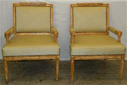 Pair painted Italian arm chairs 39 tall