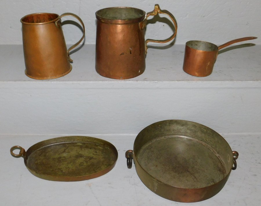 "5  early copper items. To 6"" tall."