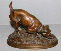 Pierre Jules Mene bronze figure of dog signed.