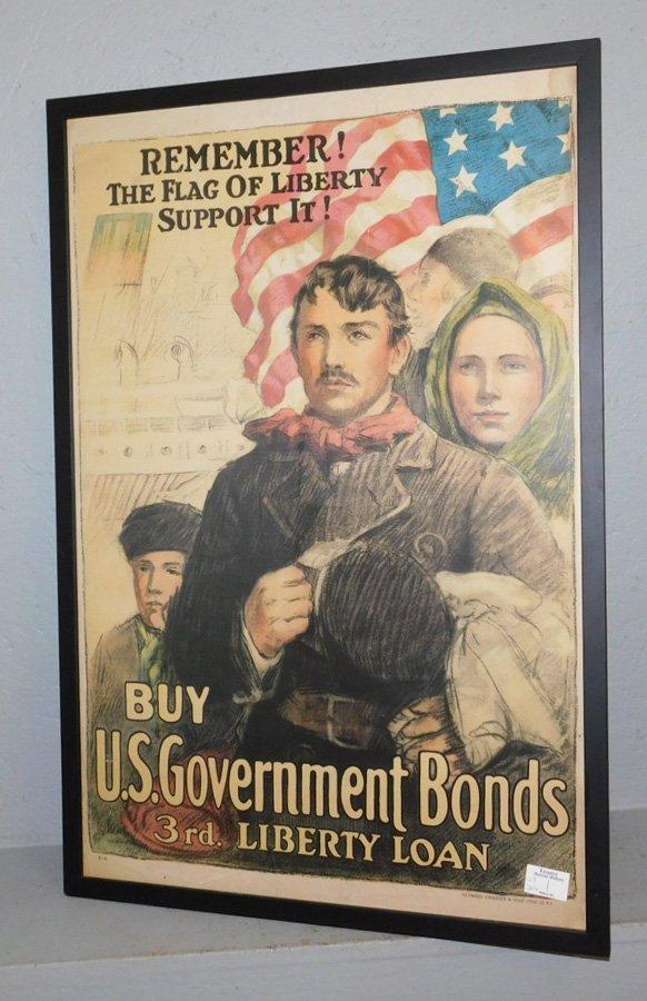 """US War Bond poster. 31 1/2"""" x 21 1/2""""."""