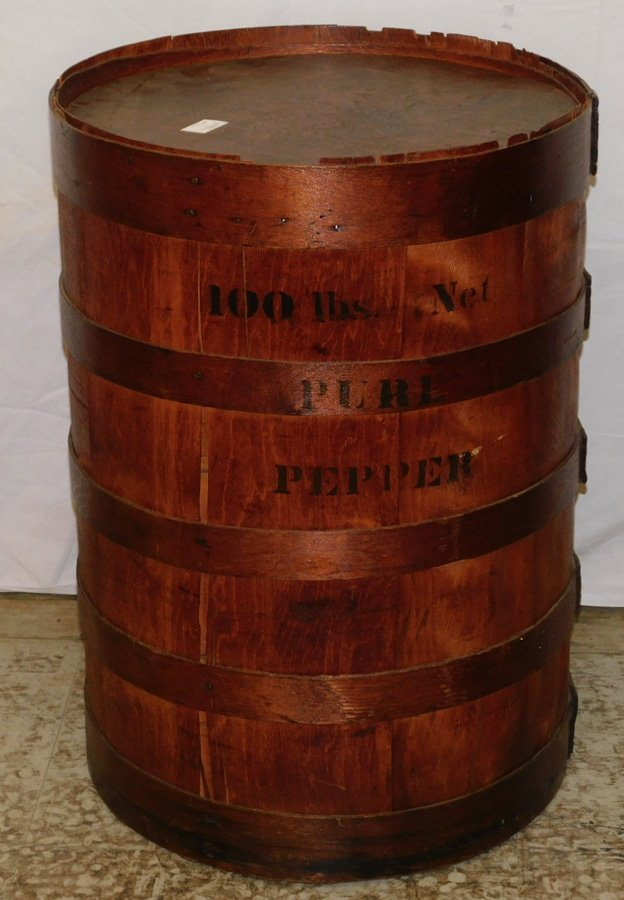 "100 Lb. banded pepper barrel. 27"" tall."