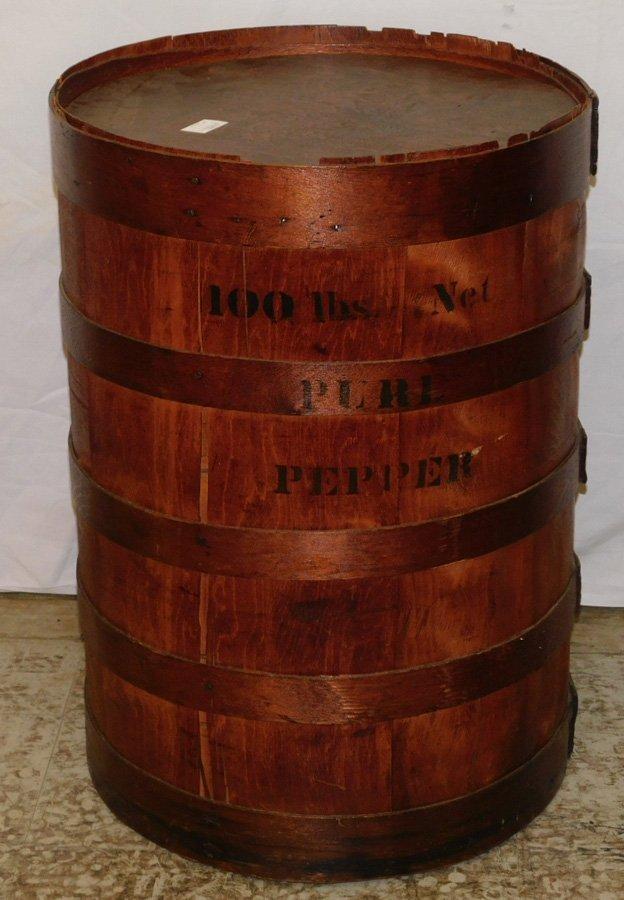"""100 Lb. banded pepper barrel. 27"""" tall."""