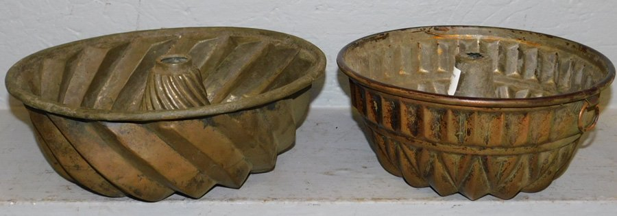 """2 early copper molds. 11"""" dia."""