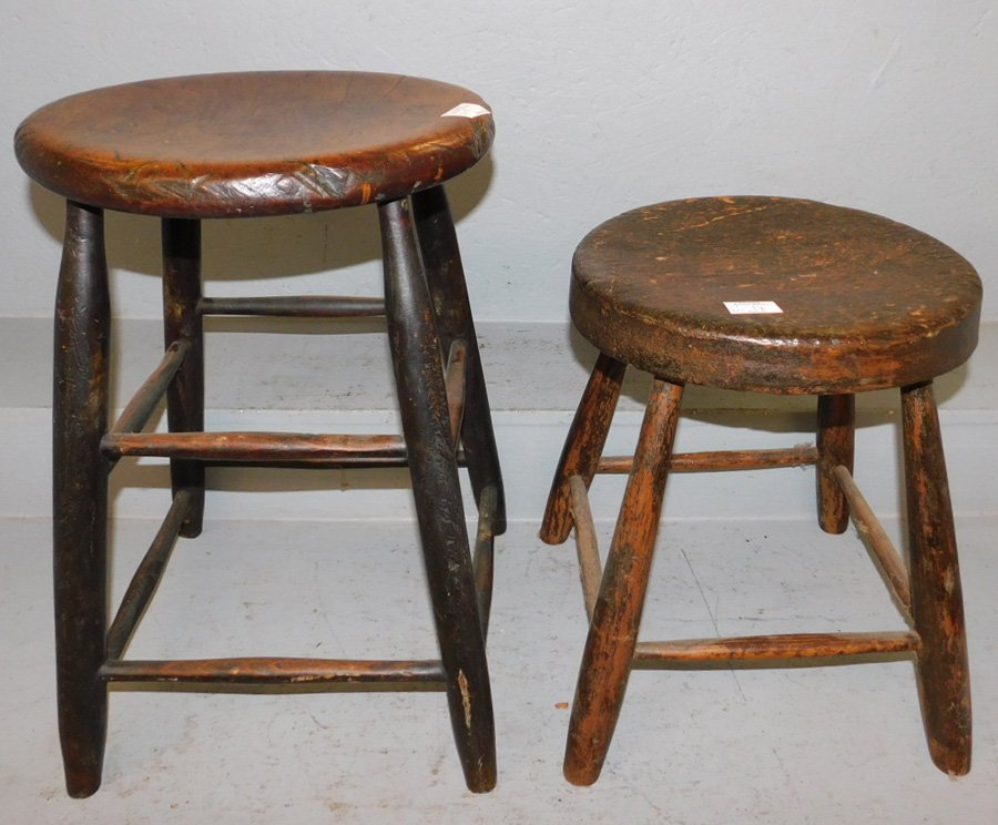 """2 primitive wooden stools. To 20"""" tall."""