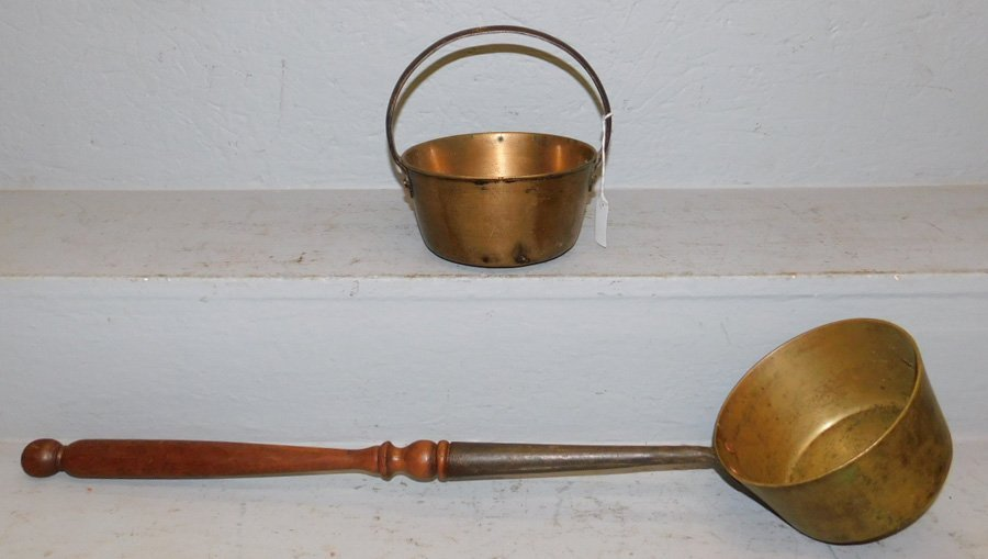 """Brass jelly bucket and 23"""" long handle copper pan."""