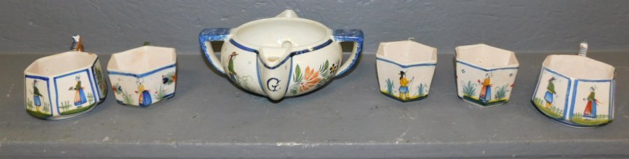5 signed Quimper cups and Quimper pitcher.