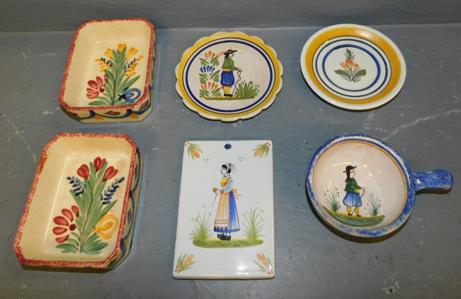 Signed Quimper tile, cup, and 4 small dishes.