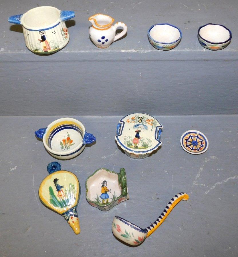 Quimper bellows, ladle, 6 bowls, pitcher & dish.