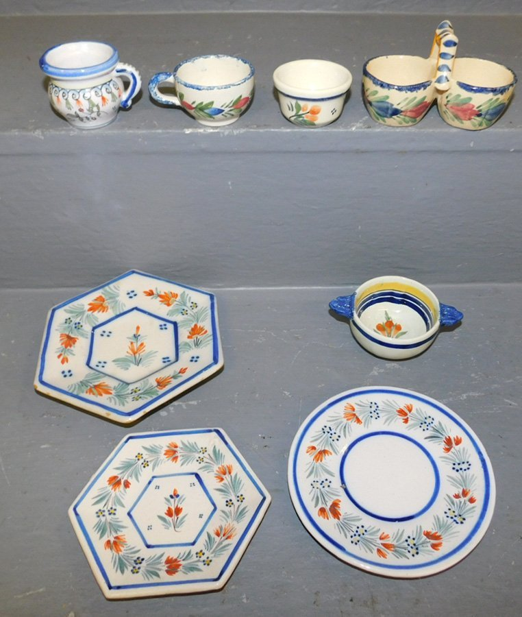 8 small signed Quimper misc cups & saucers