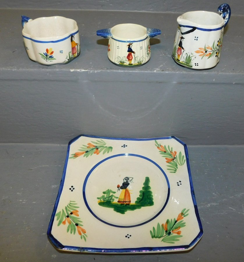 2 signed Quimper cups, pitcher and plate