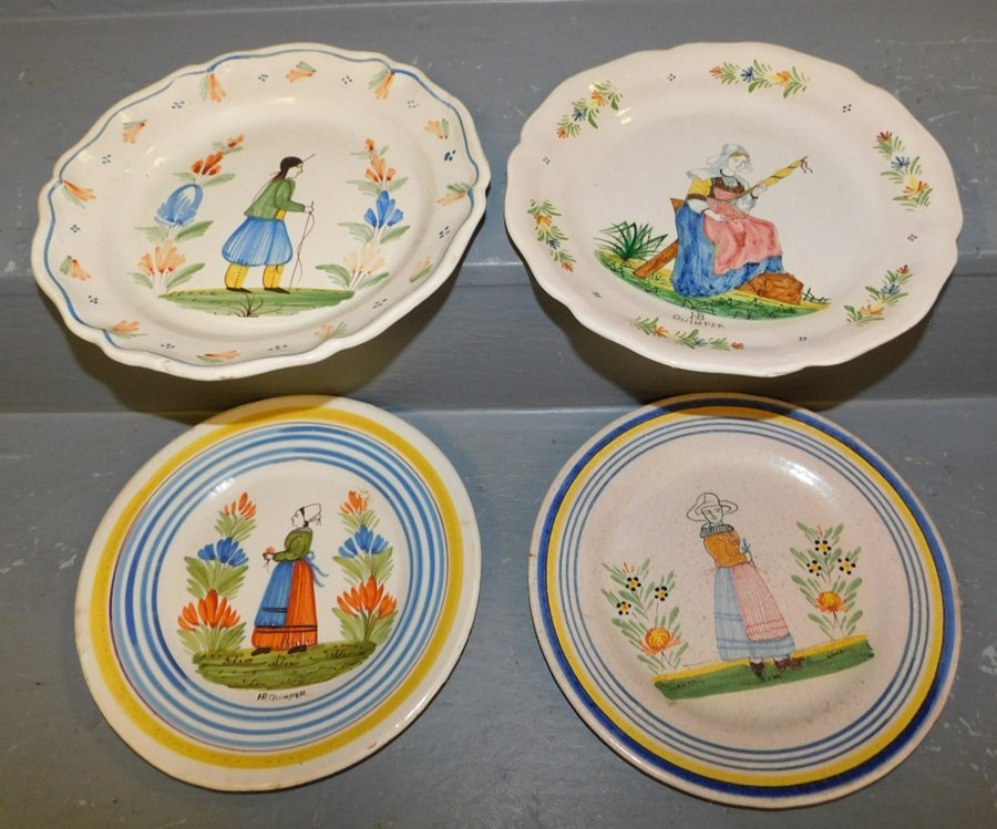 """4 signed Quimper """"French Peasant"""" plates."""