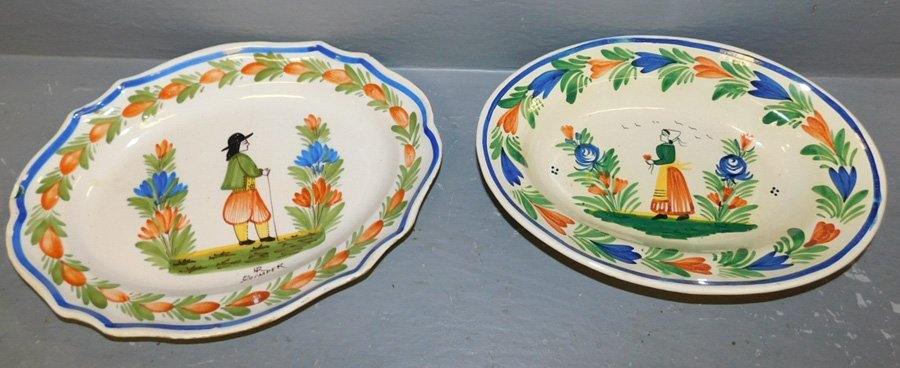 """Quimper oval bowl and platter. 11"""" to 12"""" long."""