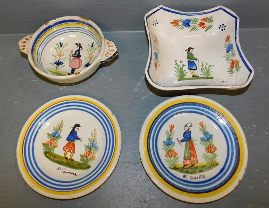 4 early Quimper pieces, 2 bowls and 2 sm plates.