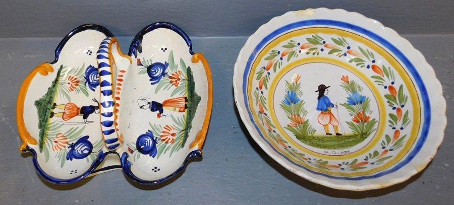 Quimper bowl and divided basket