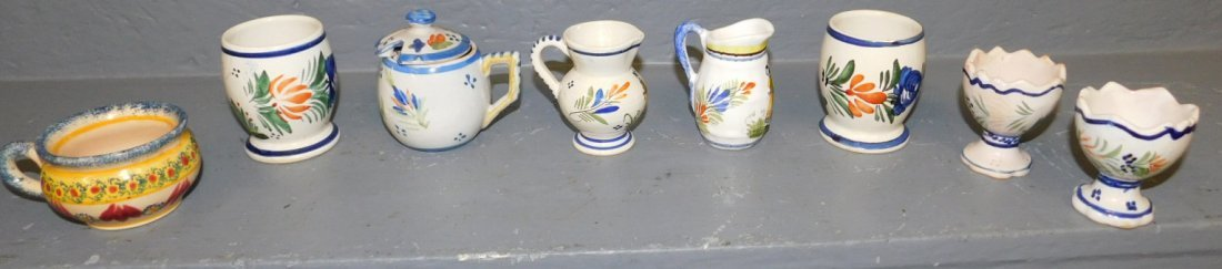 """8 Quimper cups and pitchers. 2 1/2""""to 3"""" tall."""