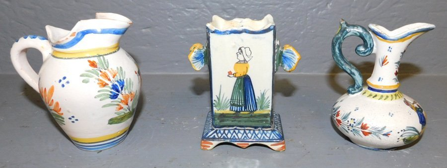 """2 Quimper pitchers and small match holder. 3 3/4"""""""