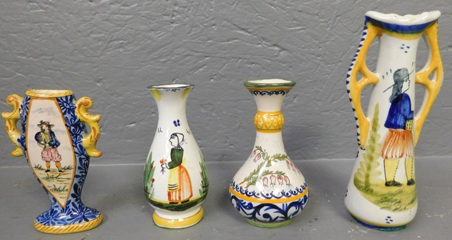 """4 Quimper vases. 4 3/4"""" to 6 3/4"""" tall."""