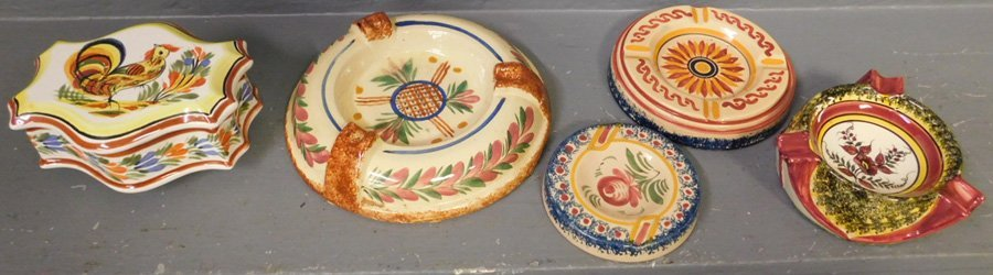 4 signed Quimper ash trays and cigarette box
