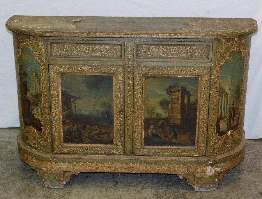 19th C Venetian paint dec commode w/ OOC panels