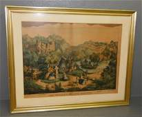 """Currier and Ives print """"Meeting of the Waters""""."""
