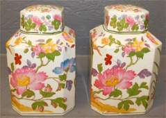 "Pair of Wedgwood porcelain tea caddies. 7"" tall."