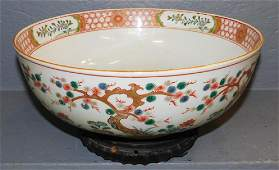 """Oriental bowl with stand. 12"""" dia x 7"""" tall w stand."""