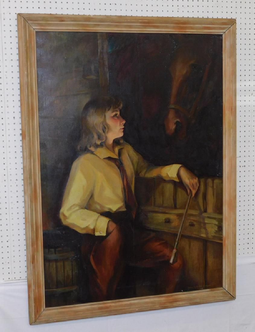OOC of girl w. horse. Signed Helen L. Evans, 1940