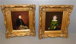"""Pair small Oil on canvas portraits. 13 1/2"""" x 15""""."""