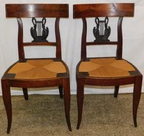Pr Adams pd lyre back swan neck chairs.