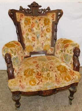 Carved and inlaid walnut Victorian arm chair