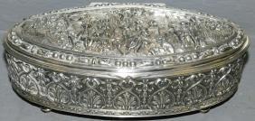 Jennings Brothers ornate silver plate dresser box.