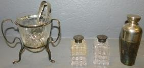 Cocktail shaker, ice bucket & 2 perfume bottles.