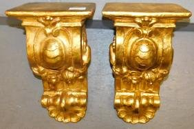 Pair William Brookfield Company wall gilt brackets