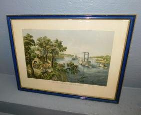 MS Steamboat Currier & Ives reprint lithograph.