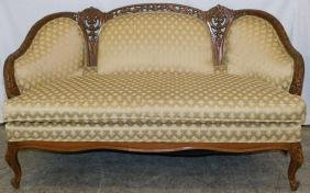"""Carved French settee. 32"""" tall."""