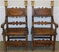 Pair of 19th C Italian walnut armchairs 49 tall