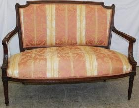"""French carved settee. 52"""" tall."""